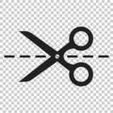Scissors symbolen med snittlinjen Scissor vektorillustrationen Royaltyfri Bild