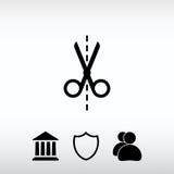 Scissors symbolen, vektorillustration Sänka designstil Arkivfoton