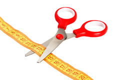 Scissors and tape measuring Stock Images