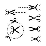 Scissors Templates. Set of Black and White Scissors Illustrations Clipart in Editable Vector Format Royalty Free Stock Images