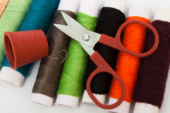 Scissors, thimble, thread Royalty Free Stock Photo