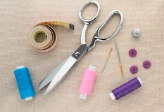 Scissors, thread, measuring Tape, sewing Needle,Thimble stock photography