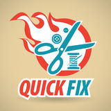 Scissors, threads and buttons, fireball. Clothing repair. Vector illustration Royalty Free Stock Photos