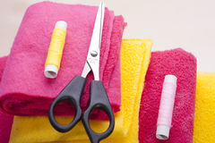 Scissors and two spools Royalty Free Stock Photo