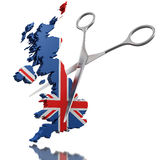Scissors and United Kingdom (clipping path included) Royalty Free Stock Photo