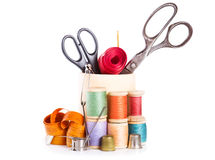 Scissors, various threads  and sewing tools Stock Images