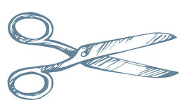 Scissors. Vector drawing. Old scissors icon  on white background. Freehand outline ink hand drawn picture sign sketchy in art scribble retro style pen on paper Royalty Free Stock Photography