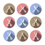 Scissors vector icons (brown, blue, pink). Royalty Free Stock Photography