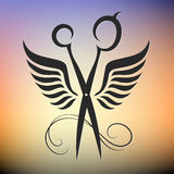 Scissors with wings. Silhouette for beauty and hair salon Royalty Free Stock Images