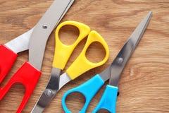 Scissors On Wood Royalty Free Stock Image