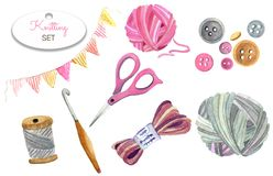 Scissors, yarn, buttons, balls of yarn. Watercolor set of knitting tools and crafts isolated on white background closeup hand made.  Scissors, yarn, buttons stock photography