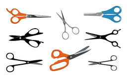Scizzors. Different styles of scissors. Silhouettes, colored. Salon and all purpose Royalty Free Stock Image