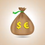 Säck med dollar och euro Påse med pengar också vektor för coreldrawillustration Royaltyfri Bild
