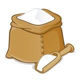 Säck mycket av mjöl med träskopan Royaltyfri Foto