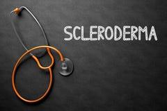 Scleroderma on Chalkboard. 3D Illustration. Medical Concept: Scleroderma - Text on Black Chalkboard with Orange Stethoscope. Medical Concept: Scleroderma Stock Photo