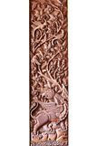 Sclupture de cinzeladura de madeira do desempenho de Ramakien no meio da floresta do céu isolada no fundo branco Fotos de Stock Royalty Free