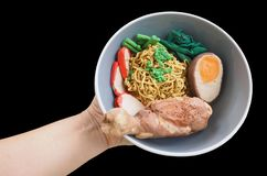 Sculpture molding clay Stewed chicken eggs noodle with red sauce stock photo