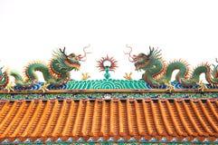 2 scluptures крыши дракона Стоковое фото RF