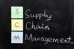 SCM, supply chain management. Chalk drawing - SCM, supply chain management Stock Photography