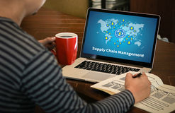 SCM Supply Chain Management concept Modern people doing business Stock Image