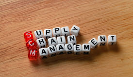 SCM Supply Chain Management on wood. SCM Supply Chain Management written on dices on wooden  background Stock Images