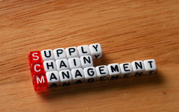 SCM Supply Chain Management. Written on dices on wooden background Stock Image