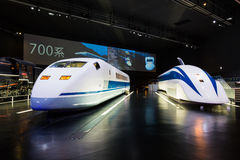 The SCMaglev and Railway Park. NAGOYA, JAPAN - JULY 10, 2016: The SCMaglev and Railway Park features 39 full-size railway vehicles and one bus exhibit, train cab Stock Photo