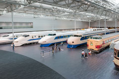The SCMaglev and Railway Park. NAGOYA, JAPAN - JULY 10, 2016: The SCMaglev and Railway Park features 39 full-size railway vehicles and one bus exhibit, train cab Stock Photos