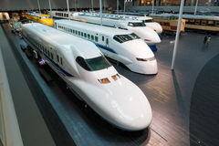 The SCMaglev and Railway Park. NAGOYA, JAPAN - JULY 10, 2016: The SCMaglev and Railway Park features 39 full-size railway vehicles and one bus exhibit, train cab Royalty Free Stock Images