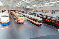 The SCMaglev and Railway Park. NAGOYA, JAPAN - JULY 10, 2016: The SCMaglev and Railway Park features 39 full-size railway vehicles and one bus exhibit, train cab Royalty Free Stock Photo