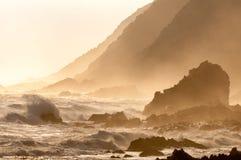 Scène côtière de coucher du soleil de sépia naturelle Photographie stock libre de droits