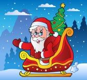 Scène de l'hiver avec le thème 3 de Noël Photo stock