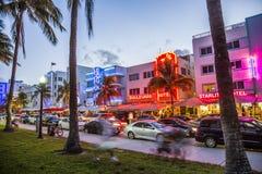 Scène de rue à la commande d'océan à Miami Photographie stock