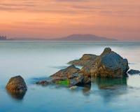 Scène de soirée sur la mer Photos libres de droits
