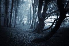 Scène foncée d'un homme fantasmagorique marchant dans une forêt foncée avec le brouillard bleu Photographie stock libre de droits