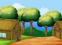 Scène met twee houten plattelandshuisjes Royalty-vrije Stock Afbeelding