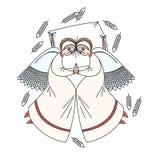 Scène mignonne avec des anges sur l'oreiller Fond blanc Image stock