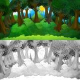 Scène van de beeldverhaal de kleurrijke aard met gelukkige zon - met het kleuren van pagina Stock Afbeeldingen
