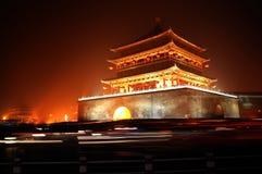 Scènes de nuit de tour de Xian Bell Images libres de droits
