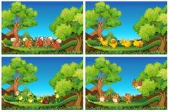 Scènes met dieren in de tuin Royalty-vrije Stock Afbeelding