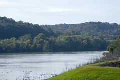 Scnic view, Ohio river. A scenic view of the Ohio river near Belleville West Virginia from the Ohio shore stock photo