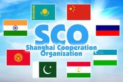 SCO, l'organizzazione di cooperazione di Shanghai Alleanza economica di alcuni stati dell'Asia illustrazione vettoriale