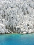 Scogliera bianca in Mar Egeo Fotografia Stock Libera da Diritti