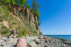 Scogliera di Orlowo al Mar Baltico, Polonia fotografia stock