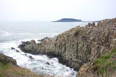 Scogliera di Tojinbo, rocce di Byobu Fotografie Stock