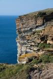 Scogliere alla punta nordica di Orkney che mostra gli strati interessanti della roccia Immagine Stock
