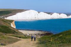 Scogliere bianche dell'immagine di sfondo di Dover Bello giorno soleggiato sulle scogliere bianche di Dover in Gran Bretagna fotografia stock
