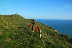 Scogliere cape sassose, Inghilterra del sud, Regno Unito fotografia stock libera da diritti