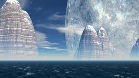 Scogliere del mare sui precedenti del pianeta enorme illustrazione di stock