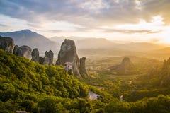 Scogliere della roccia di Meteora Grecia Fotografie Stock